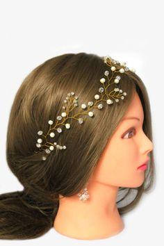 Bridal Hair Vine Wedding Hair Vine Crystal Headpiece Bridal Jewelry Pearl Hair Vine Gold Hair Vine Gift For Her Wedding Tiara Crystal Vine