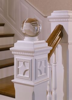 Love the glass finial on top of a square newel post Stair Posts, Newel Posts, Square Newel Post, Newel Post Caps, Dentil Moulding, Traditional Staircase, Staircase Design, Staircase Glass, Staircase Ideas