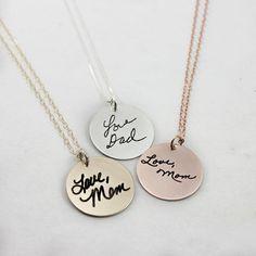 Custom Handwriting Necklace Handwriting by TagYoureItJewelry