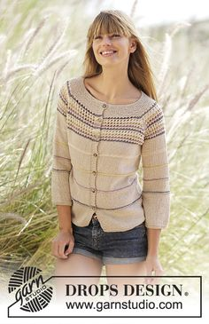 "Knitted DROPS jacket with stripes, lace edge, ¾ sleeves and raglan in ""Belle"". Size: S - XXXL."