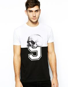 ASOS T-Shirt With Cut And Sew Skull and Number Print, in Black/White