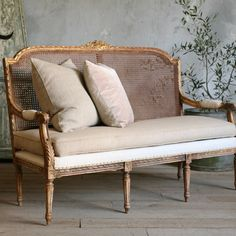 One of a Kind Vintage Settee Louis XVI Gilted Cane