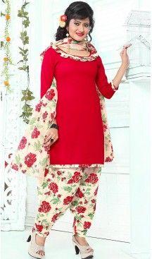 Red Color Cotton Straight Cut Punjabi Stitched Patiyala Dress | FH464572432 #Heenastyle #Punjabisuit #Salwarsuit, #SalwarKameez, #Dreses, #Patiyala