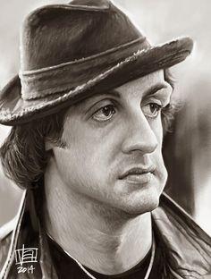 Caricatura de Sylvester Stallone como Rocky