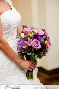 Purple, Pink, and Green bridal bouquet - by Illusion of Grandeur Photography http://www.illusionofgrandeur.com