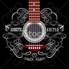 background with guitar Royalty Free Stock Vector Art Illustration