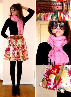 cute floral skirt + black top and tights