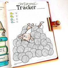 14 Genius Bullet Journal Ideas For A Better You And A Happier Life - Our Mindful Life Love the cat and yarn tracker.but I'm can't draw worth nothing! Lol 14 bullet journal page ideas for self-betterment -. Bullet Journal Tracker, Bullet Journal Page, Bullet Journal Mood Tracker Ideas, Self Care Bullet Journal, Bullet Journal Printables, Bullet Journal Notebook, Bullet Journal Aesthetic, Bullet Journal Themes, Bullet Journal Spread