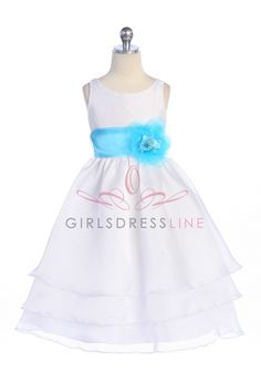 White+Organza+Simple+Layered+Flower+Girl+Dress+with+Sash+CD-574-WH+$56.95+on+www.GirlsDressLine.Com