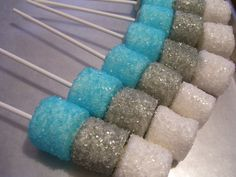 Marshmallow Pops Sugar Coated Custom Colors Coated Marshmallow Pops or Winter Frozen Winter Wonderland Theme 1 dozen by MarieGrahams on Etsy https://www.etsy.com/listing/101760927/marshmallow-pops-sugar-coated-custom