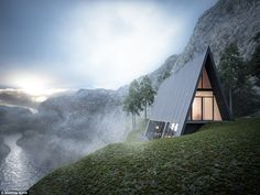 The futuristic Triangle Cliff House (pictured), nestled on the edge of a nail-biting precipice, was imagined by Germany-based architect Matthias Arndt for a design challenge.
