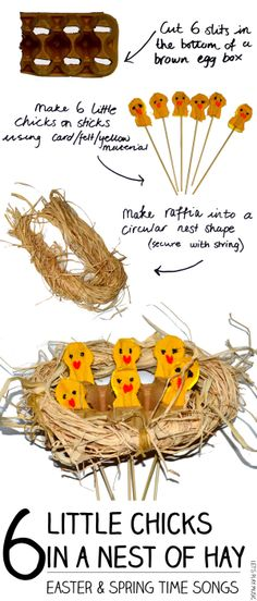 Easter Songs: 6 Little Chicks in a Nest of Hay - Let's Play Music - Practice Counting Backwards with this cute easter themed song & craft activity!