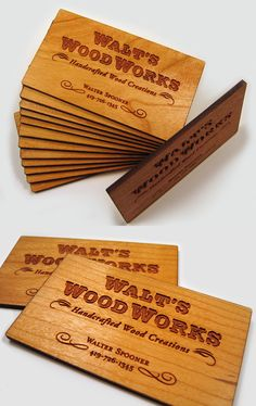 Beautiful Laser Etched Wooden Business Card