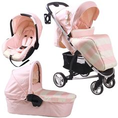 How cute is this, perfect for a little girl!! | Billie Faiers MB99+ Pink Stripes Travel System