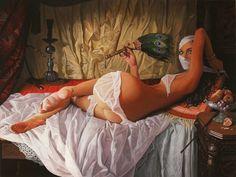 beautiful woman nude oil painting hookah pipe arabian nights veil peacock feather