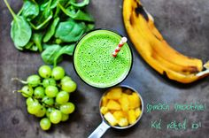 This kale and spinach smoothie is a great way to get your greens in. Green smoothies are great to have as a mid-morning or post workout snack, or as an on-the-go lunch or breakfast. Smoothies For Kids, Good Smoothies, Fruit Smoothies, Smoothie Recipes, Vegan Smoothies, Drink Recipes, Clean Smoothie, Grape Smoothie, Nutribullet Recipes