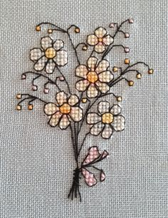 "This sweet ""Bunch of Flowers"" pattern comes from one of my favourite cross…"