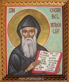 Per mano di Cristina Capella . St Charbel, Religion, Byzantine Art, Orthodox Icons, Sacred Art, Catholic, Saints, Prayers, Hand Painted