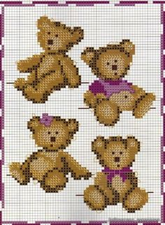cross-stitch teddy bears ... no color chart, just use pattern chart colors as your guide.. or choose your own colors.