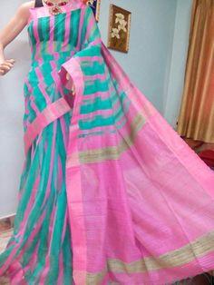 Latest Fashion Stripes Saree With Contrast Blouse | Buy online Sarees | Elegant Fashion Wear Price;2350 #latest #stripes #checks #saree