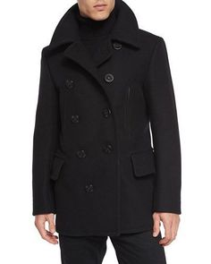 Men's Designer Coats & Jackets at Neiman Marcus Peacoat Outfit, Mens Designer Coats, Black Pea Coats, Tom Ford Men, Men's Coats And Jackets, Gentleman Style, Wool Blend, Men Sweater, Mens Fashion