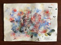"Brush-wipe style acrylic painting on water-wrinkled paper - ""Kaboom!"""