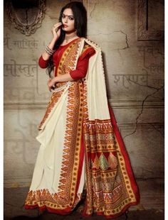 Red And Off White Printed Designer Bhagalpuri Silk Saree