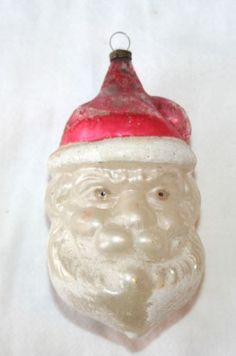 1920s Santa Claus Head. Frosted German Glass German Ornament.