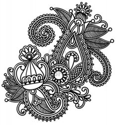 Hand-Drawn Abstract Henna Mendie Flowers Doodle Illustration Design Element Stock Photo - 11189154