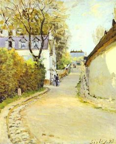 Street in Ville d Avray, 1873 by Alfred Sisley. Impressionism. cityscape. Private Collection