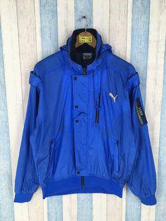53bdbab10a Vintage 90s PUMA Jacket Large Blue Vintage Sportswear Puma Cougars  Windbreaker Activewear Puma Hoodie Tactical Jacket Size L