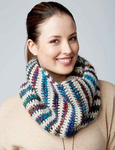 Patons Tunisian Cowl in Shadows  - Patterns    Yarnspirations/ FREE PATTERN / easy/ love the colours