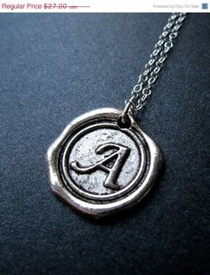 SALE  Wax Seal Necklace Initial Necklace by MySweetNomsa on Etsy