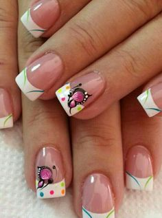 so beautiful for spring! - Page 7 of 15 - fashion-style. Cute Nails, Pretty Nails, My Nails, Pretty Nail Designs, Toe Nail Designs, French Nails, Nagel Stamping, Butterfly Nail Art, Crazy Nails