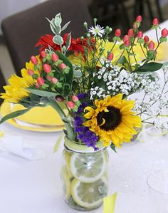 WeddingChannel Galleries: Wildflower Centerpiece in a Mason Jar - welcome party.with queen anne's lace not babybreath Wildflower Centerpieces, Sunflower Centerpieces, Mason Jar Centerpieces, Wedding Bells, Diy Wedding, Wedding Flowers, Wedding Stuff, Wedding Ideas, Casual Outdoor Weddings