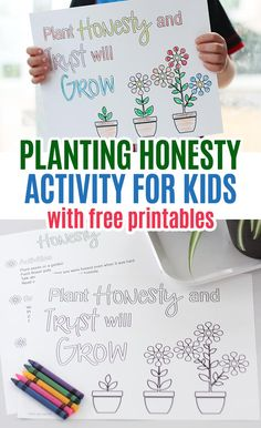 Free printables and activities to help kids learn about honesty! Explore honesty for kids with this month's Family Dinner Book Club. Free printables for kids and families and free flower coloring pages too. - Kids education and learning acts Counseling Activities, Bible Activities, Free Kids Activities, Flower Activities For Kids, Activity Books, Activity Days, Therapy Activities, Preschool Ideas, Character Education