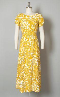 1a92e88fa117 Vintage 1960s Dress | 60s Hawaiian Floral Print Maxi Day Dress Cotton  Mustard Yellow Tiki Hostess