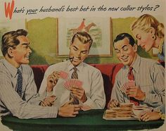 1940s ARROW Clothing Men's Shirts Ties MENSWEAR vintage illustration advertisement handsome men playing cards