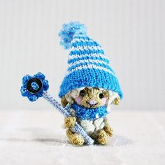 Fairy Sheep in blue cap with magic wand knitted sheep