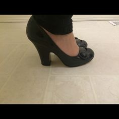 Madden girl chunky black heels with button detail I believe these are a size 7. I wear a size 7 in heels and these fit perfect. Worn under 10 times. Very comfortable sturdy heel. I just prefer more extreme shoes now Madden Girl Shoes Heels