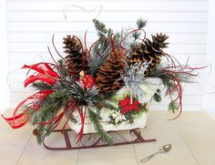 Large Rustic CHRISTMAS SLEIGH with Large Pinecones