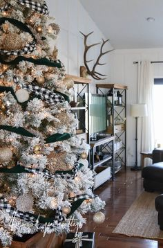 Flocked Christmas Tree - The Wood Grain Cottage Happy New Year