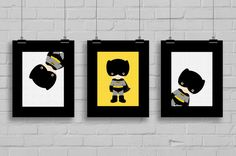 Superhero Batman Prints - The perfect wall art for your little ones room, nursery or playroom! This listing is for an INSTANT DOWNLOAD of 3