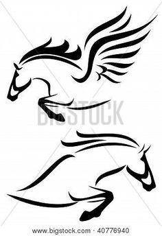 Illustration of black and white outlines of jumping horse and pegasus vector art, clipart and stock vectors. Horse Stencil, Stencil Art, Stencils, Horse Silhouette, Silhouette Vector, Small Horse Tattoo, Pegasus Tattoo, Horse Outline, Horse Logo