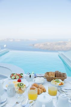 Breakfast by the pool, Santorini, Greece