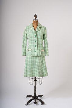1960's Tricosa Green Plaid Wool Suit  Mod Paris by missfarfalla, $185.00