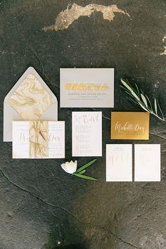 Modern gold invitation suite: http://www.stylemepretty.com/massachusetts-weddings/somerville/2016/02/26/industrial-chic-warehouse-inspiration-session/ | Photography: Kim Lyn Photography - http://kimlynphotography.com/