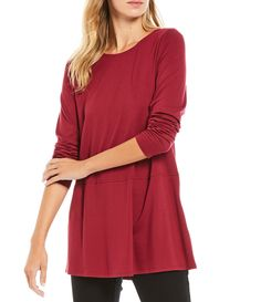 Eileen Fisher Round Neck Long Tunic Top - Hibiscus S Long Tunic Tops, Origami Fashion, Fashion Details, Fashion Fashion, Jumpsuit Pattern, Apparel Design, Vintage Sewing Patterns, Eileen Fisher, Pattern Fashion