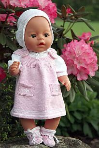 Child Knitting Patterns Lovely knitting sample from Maulfrid Gausel for Child born Baby Knitting Patterns Supply : Beautiful knitting pattern from Maulfrid Gausel for Baby born. Knitting Dolls Clothes, Crochet Doll Clothes, Knitted Dolls, Doll Clothes Patterns, Doll Patterns, Baby Knitting Patterns, Knitting Designs, Baby Born Clothes, Bitty Baby