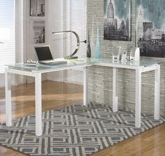 Brizio White Finish Metal L-Desk with Frosted Glass Top by Signature Design by Ashley #HomeOffice